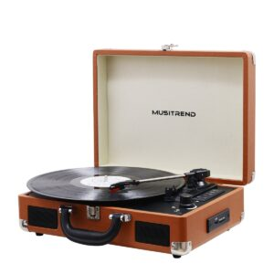 Musitrend Bluetooth Record Player Portable Suitcase Turntable