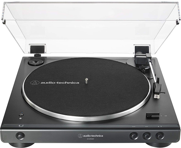 Audio-Technica AT-LP60XBT-BK Fully Automatic Bluetooth Belt-Drive Stereo Turntable, Black, Hi-Fidelity, Plays 33 -1/3 and 45 RPM Vinyl Records,