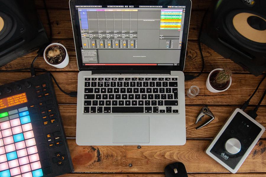 Laptop recording music