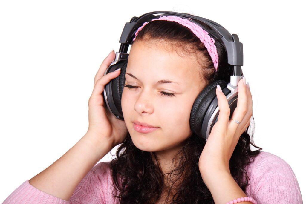 girl using a headphone