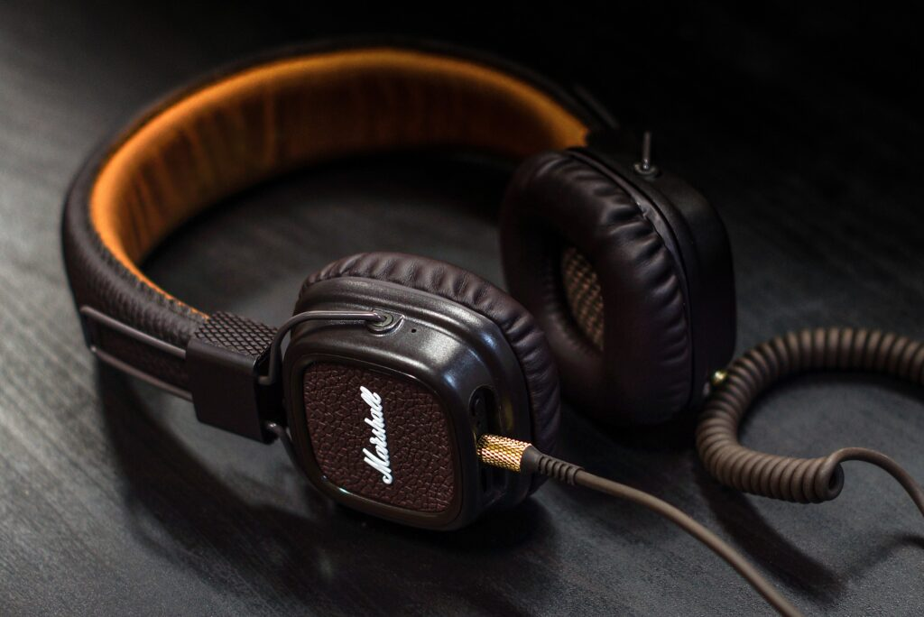 brown and black headphone