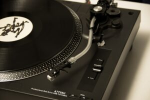 black and grey portable record player