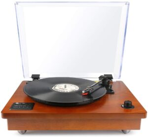 product photo of 1byone Belt Driven Bluetooth Turntable with Built-in Stereo Speaker