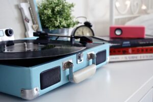 blue portable record player